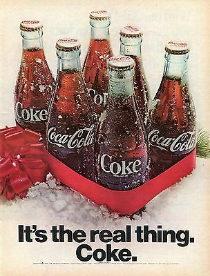 1969 Coca Cola Coke It's The Real Thing Christmas Print Ad