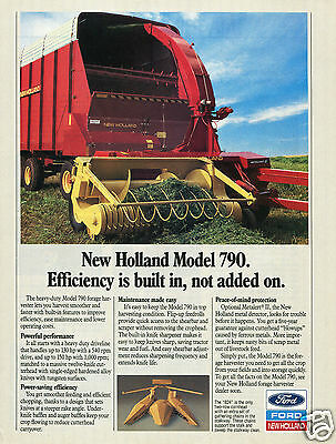 1989 Ford New Holland Model 790 Forage Harvester Farm Tractor Print Ad