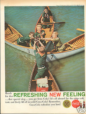 1961 Coca Cola Soda BSA Boy Scouts in Canoes LARGE Print Ad