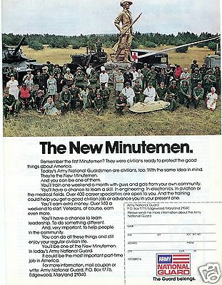 1974 U.S. Army National Guard The New Minutemen Recruiting Print Ad