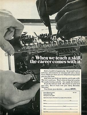 1969 U.S. Army When We Teach A Skill Career Comes With It Recruiting Print Ad