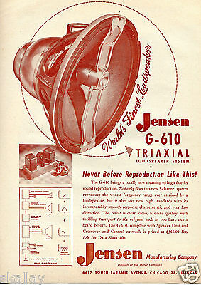 1950 Print Ad of Jensen G-610 Triaxial Loudspeaker System