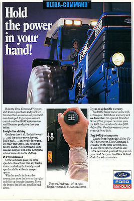 1991 Ford New Holland 8830 Power Shift Farm Tractor Print Ad