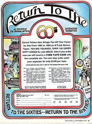 1974 Sound Values Return To The Sixties 8 Track Stereo Tapes Print Ad