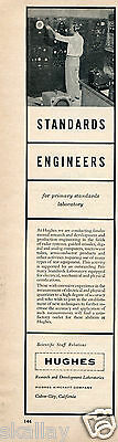 1956 Print Ad of Howard Hughes Aircraft Company Standards Engineers