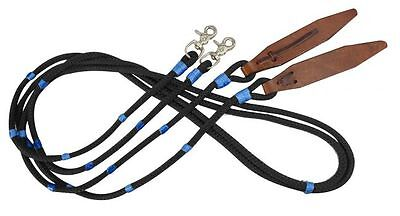 Showman 8' BLACK Braided Nylon Reins w/ Leather Poppers & BLUE Accents! NEW TACK