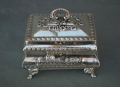 Semi Antique Solid Sterling Silver Gold Gilt Jewish Etrog Box Citron Box