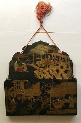 1910 Hand Painted Lacquered Wall Letter Holder with Asian Figures