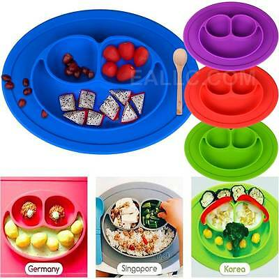 Silicone Baby Plate Placemat Feeding Dishe Plate Placemat  With Suction Kid Gift