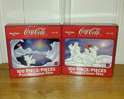 "Pair of 2004 Coca Cola 100 Pc Puzzles 9""x12"" Polar Bears NEW Unopened Karmin"