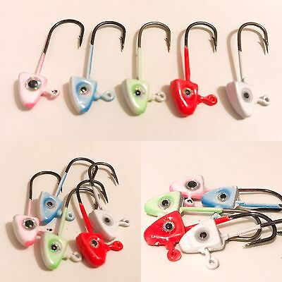 10 X Multi Coloured Fish Eye Jig Heads 1.5g For Rubber Lures Fishing Pike Perch