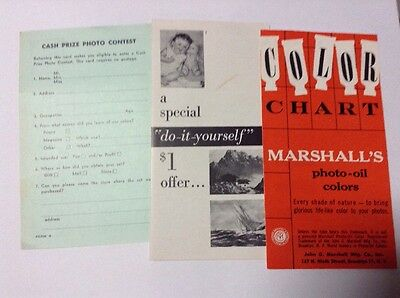 Antique Marshall's Paint Photo-oil Color Chart &Photo Contest Entry Form 1940's