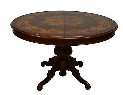 Italian Round Inlaid Dining / Breakfast Table 1 leaf