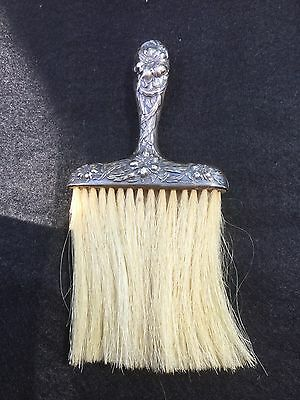 Antique Victorian Ornate Sterling Silver  Whisk Broom Brush 1900s Chrysanthemum