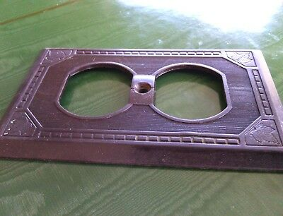 Double gang wall plate Vintage Brown Receptacle Cover Duplex Outlet Cat # 5142