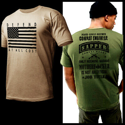 33d9e284 US Army Combat Engineer T-Shirt Special Forces Hardcore Military Tee Army  Strong
