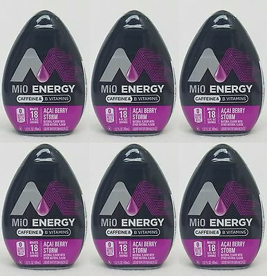 6 Mio Energy Liquid Water Enhancer ACAI BERRY STORM 108 Servings Total