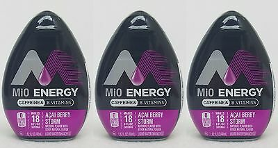 3 Mio Energy Liquid Water Enhancer ACAI BERRY STORM 54 Servings Total