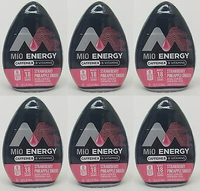 6 Mio Energy Liquid Water Enhancer STRAWBERRY PINEAPPLE SMASH 108 Servings Total