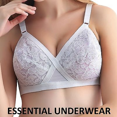 White Lace Non Wired Lightly Padded Cross Your Heart Style Bra, 32-44 A B C D