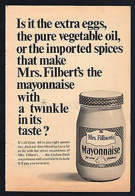 1967 Mrs Filbert's Mayonnaise Print Ad~A Twinkle In Its Taste ? ~ Condiments