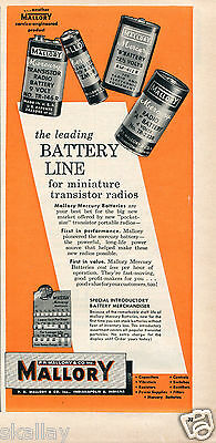 1956 Print Ad of Mallory Mercury Batteries for Miniature Transistor Radios