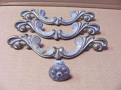 (3) Vintage French Provincial Drawer Pulls/ Handles & (1) Knob -- Brass/ Paint