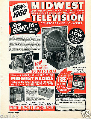 1949 Print Ad of Midwest Radio & Television 1950 Models Consoles & Chassis