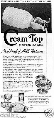1937 Print Ad of Cream Top Bottle Corporation the new style of milk bottle