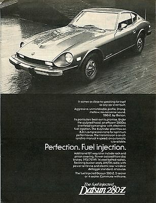 1976 Datsun 280-Z 2 Seater Perfection Fuel Injection Print Ad.
