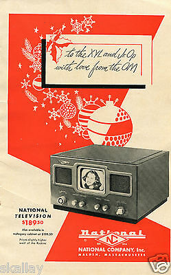 1948 Print Ad of National Company Inc Christmas TV Television
