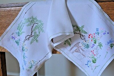 Vintage White Linen Hand Embroidered Table Runner Cottage Garden Spring Flowers