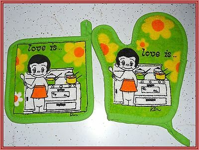 NEW VINTAGE LOVE IS... BY KIM KITCHEN POT HOLDERS OVEN MITT by SAYCO