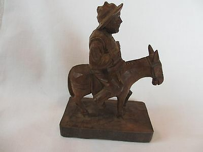 Vintage Ouro Artesania Carved Folk Art Wood Figure Of Don Quiote And Donkey