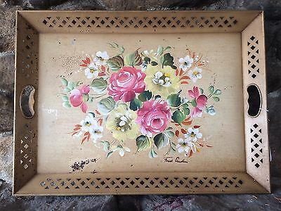 "16X22 TOLE NOIR rectangle metal hand panted flowers 2"" high golden paint NASHCO"
