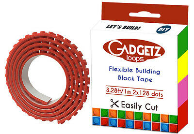 NEW Red Bendable Flexible Tape Loops Compatible w LEGO© Building Blocks Adhesive