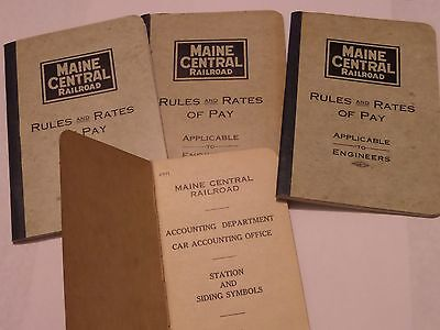 3 Maine Central Railroad Engineers Rules 1917 & 1933 Station And Siding Symbols