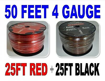 4 Gauge 7.6m BLACK and 7.6m RED Car Audio Power Ground Wire Cable 15m Total. Fre