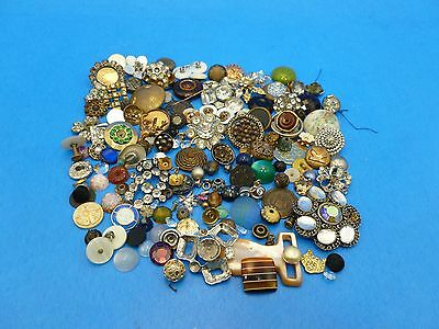 Antique Vintage 8oz Mixed Repair Button Parts Findings Stones Shanks Jewelry