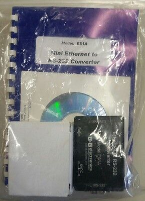 B&B Electronics Mini Ethernet to RS-232 Converter - Model ES1A - New/Open Pkg.