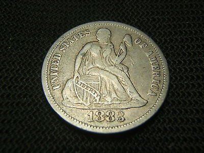 1883 Seated Liberty Dime Very Fine 90% silver each additional coin ships free