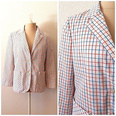 Vintage 70s Womens Red White Blue Checkered Sport Coat Fitted Blazer Medium