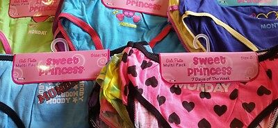 Girls 7 pack Underwear New Cute Days of the Week Kids Panties Assorted Graphics