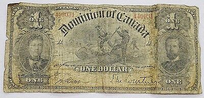 1898 Dominion Of Canada Large Size $1 Bill Free Shipping!