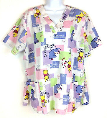 Disney Winnie The Pooh Eeyore Scrub Top Size XL Smile Make The Difference V Neck