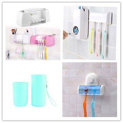 Bathroom home Toothbrush Wall Mount Toothpaste Dispenser Stand Holder Storage ER