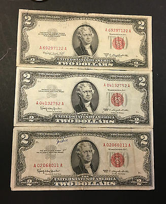 2--1963 &1 1953 Two Dollar  Red Seal  United States Notes