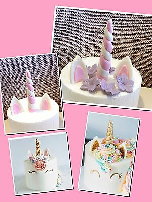 Unicorn Edible Unicorn Ear Horn cupcake topper/decoration Fondant