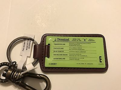 """New Disneyland Good For One """"E"""" Adult entrance Admission keychain"""