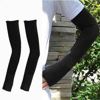 1 Pair Arm Cooling Sleeves Gloves Sun Protection Cover Driving Fishing Black FA